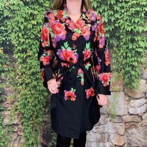 ISAAC MIZRAHI LIVE Floral Trench Coat, M
